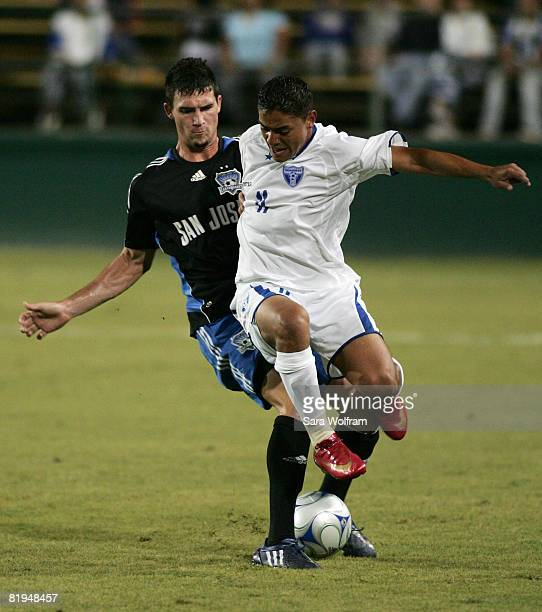 Luis Rodas of the Honduras Olympic Team controls the ball against Jay Ayres of the San Jose Earthquakes at Buck Shaw Stadium on July 15 2008 in Santa...