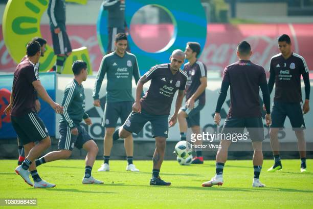 Luis Rodríguez of Mexico in action during Mexico National Team training session ahead of the international friendly match against Uruguay at CAR on...