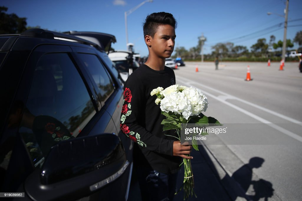 Luis Rodriguez arrives for the funeral of Alyssa Alhadeff at the Garden of Aaron at Star of David Memorial Gardens on February 16, 2018 in Parkland, Florida. Alhadeff was one of 17 people killed in the February 14 shooting at Marjory Stoneman Douglas High School. Former student Nikolas Cruz has been arrested and charged for the 17 murders.