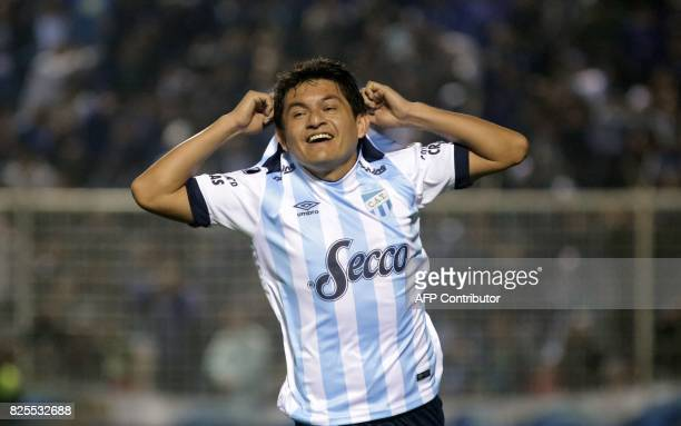 Luis Rodriguez of Argentine Atletico Tucuman celebrates after scoring against Bolivian Oriente Petrolero during a Copa Sudamericana football match at...