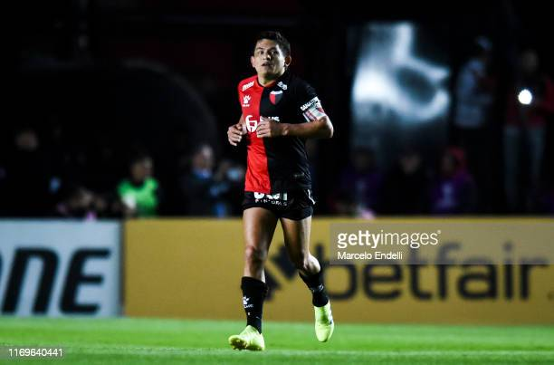Luis Rodriguez of Colon celebrates after scoring the second goal of his team during the first leg semifinal of Copa CONMEBOL Sudamericana 2019...