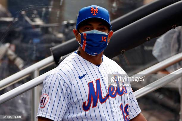 Luis Rojas of the New York Mets looks on before taking on the Washington Nationals at Citi Field on April 24, 2021 in the Flushing neighborhood of...
