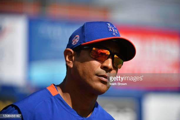 Luis Rojas of the New York Mets looks on during the team workouts at Clover Park on February 20 2020 in Port St Lucie Florida