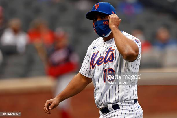 Luis Rojas of the New York Mets walks back to the dugout during the fifth inning against the Washington Nationals at Citi Field on April 24, 2021 in...