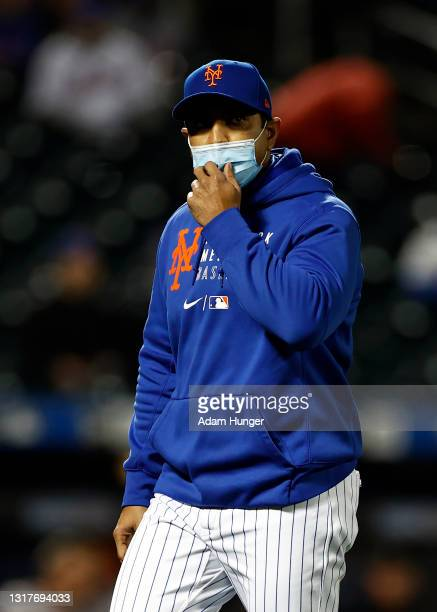 Luis Rojas of the New York Mets walks off the field during the sixth inning against the Arizona Diamondbacks at Citi Field on May 8, 2021 in the...