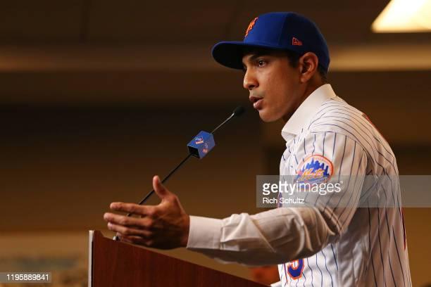 Luis Rojas speaks after being introduced as the new manager of the New York Mets at Citi Field on January 24 2020 in New York City Rojas had been the...