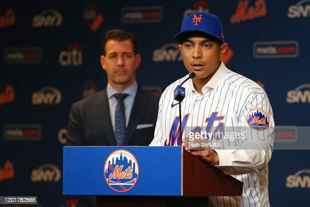Luis Rojas speaks after being introduced as the new manager of the New York Mets at Citi Field on January 24 2020 in New York City Listening in is...