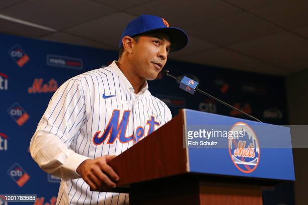 Luis Rojas speaks after being introduced as the new manager of the New York Mets at Citi Field on January 24 2020 in New York City