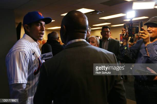 Luis Rojas the new manager of the New York Mets is interviewed after his introductory press conference at Citi Field on January 24 2020 in New York...