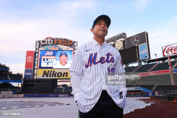Luis Rojas the new manager of the New York Mets poses for photos after his introductory press conference at Citi Field on January 24 2020 in New York...