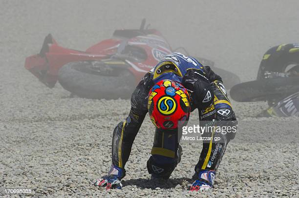 Luis Rossi of France and Tech3 Racing crashed out during the Moto2 race during the MotoGp Of Catalunya - Race at Circuit de Catalunya on June 16,...