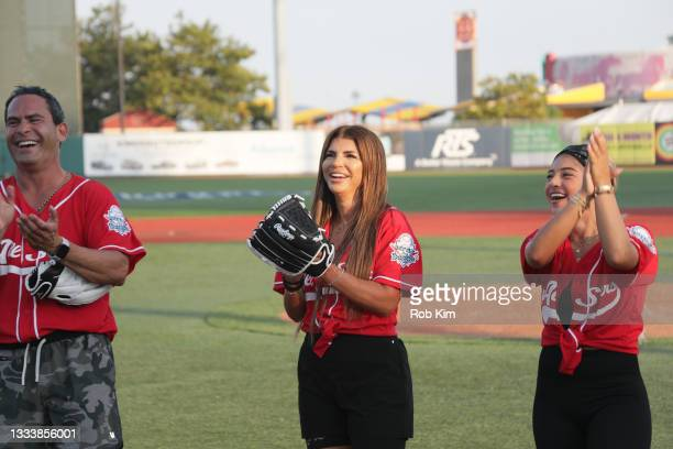 Luis Ruelas, Teresa Giudice and Gia Giudice of The Real Housewives of New Jersey attend the 2021 Battle for Brooklyn celebrity softball game at...