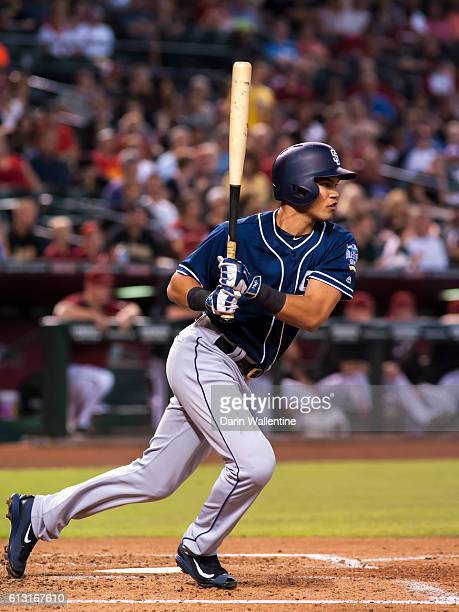 Luis Sardinas of the San Diego Padres grounds out to second against the Arizona Diamondbacks in the third inning of the MLB game at Chase Field on...