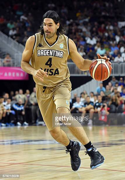 Luis Scola of Argentina brings the ball up the court against the United States during a USA Basketball showcase exhibition game at TMobile Arena on...
