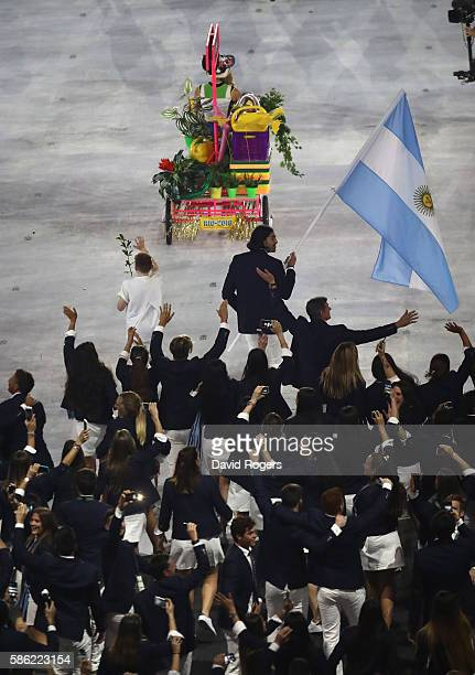 Luis Scola of Argentina carries the flag during the Opening Ceremony of the Rio 2016 Olympic Games at Maracana Stadium on August 5 2016 in Rio de...