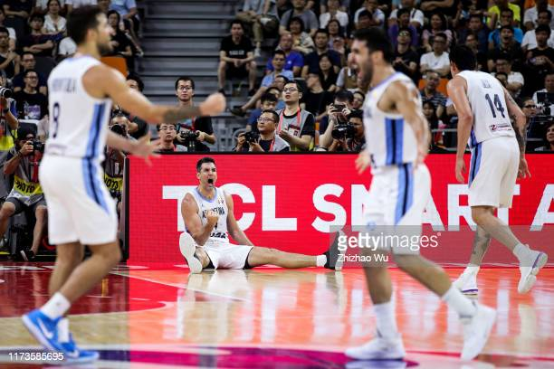Luis Scola of Argentina celebrates a point during the quarter final of 2019 FIBA World Cup between Argentina and Serbia at Dongguan Basketball Center...