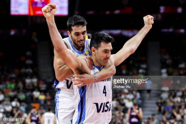 Luis Scola of Argentina celebrates a point with teammate Facundo Campazzo during the quarter final of 2019 FIBA World Cup between Argentina and...