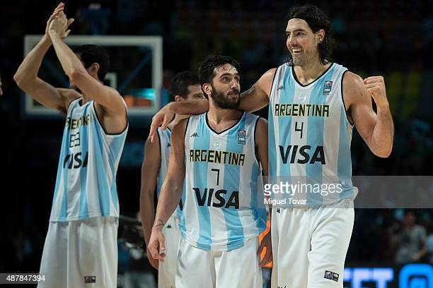 Luis Scola of Argentina celebrates after defeating Mexico during a semifinals match between Argentina and Mexico as part of the 2015 FIBA Americas...