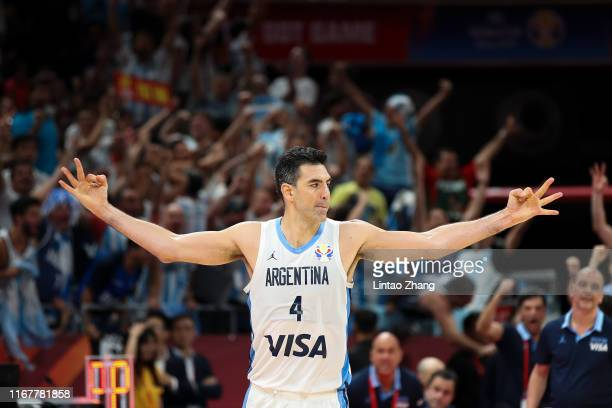 Luis Scola of Argentina celebrates after scoring three points during the semi-finals of 2019 FIBA World Cup at Beijing Wukesong Sport Arena on...