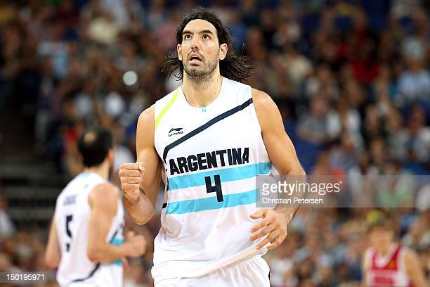 Luis Scola of Argentina celebrates making a shot during the Men's Basketball bronze medal game between Russia and Argentina on Day 16 of the London...