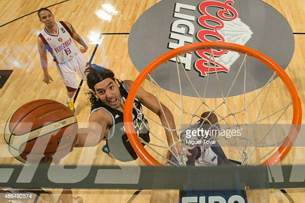 Luis Scola of Argentina goes for the basket during a match between Venezuela and Argentina as part of the 2015 FIBA Americas Championship for Men at...