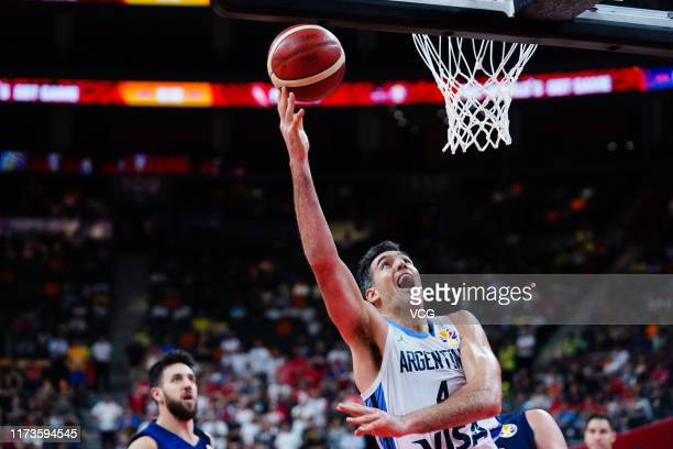 Luis Scola of Argentina goes to the basket during FIBA World Cup 2019 quarter-final match between Argentina and Serbia at Dongguan Basketball Center...