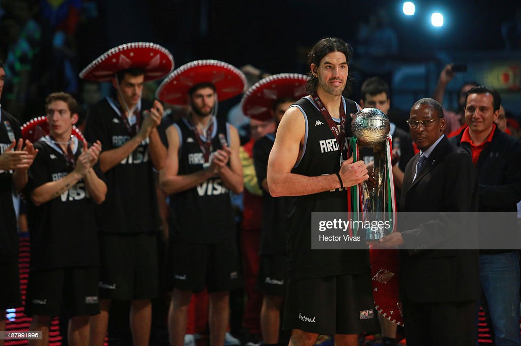 Luis Scola of Argentina holds the second place trophy after a final match between Venezuela and Argentina as part of the 2015 FIBA Americas Championship for Men at Palacio de los Deportes on September 12, 2015 in Mexico City, Mexico.