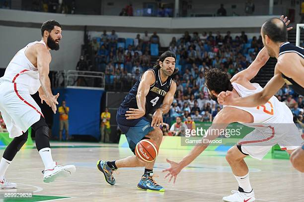 Luis Scola of Argentina passes the ball against Spain on Day 10 of the Rio 2016 Olympic Games at Carioca Arena 1 on August 15 2016 in Rio de Janeiro...