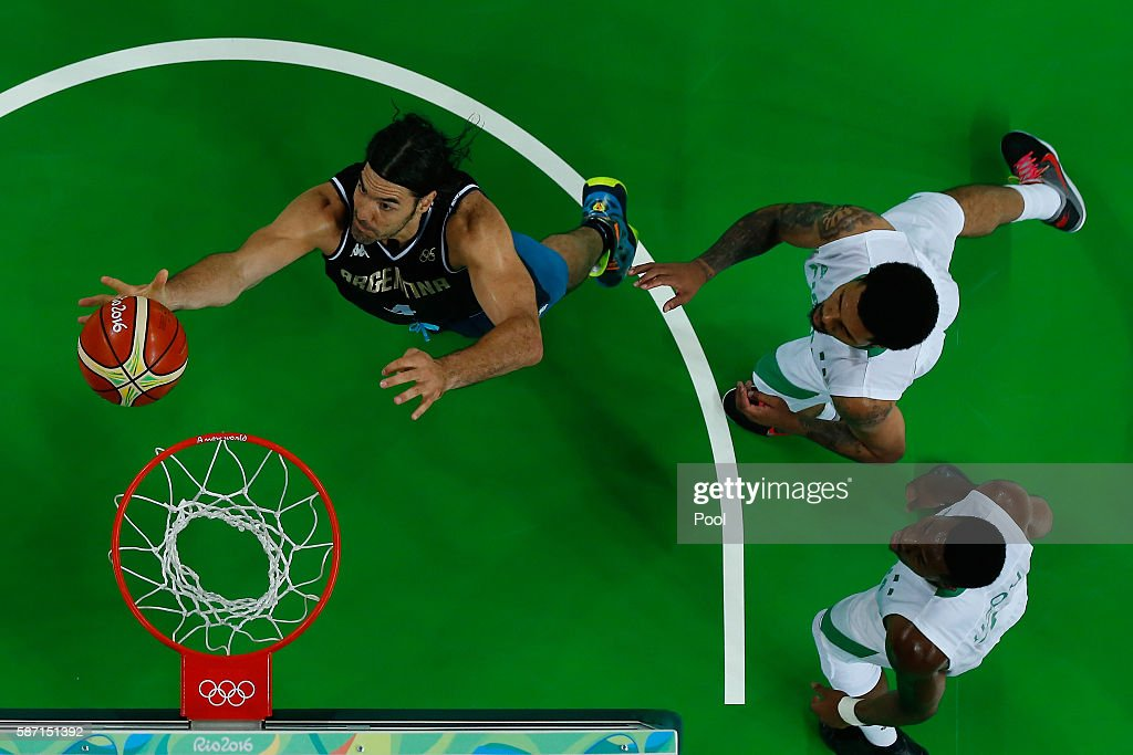 Luis Scola of Argentina shoots the ball during a Men's preliminary round basketball game between Nigeria and Argentina on Day 2 of the Rio 2016 Olympic Games at Carioca Arena 1 on August 7, 2016 in Rio de Janeiro, Brazil.
