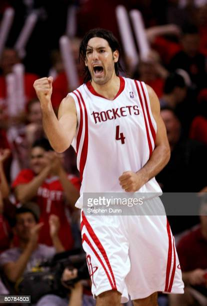 Luis Scola of the Houston Rockets celebrates against the Utah Jazz in Game One of the Western Conference Quarterfinals during the 2008 NBA Playoffs...