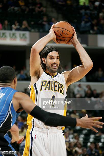 Luis Scola of the Indiana Pacers handles the ball against at Bankers Life Fieldhouse on October 10 2014 in Indianapolis Indiana NOTE TO USER User...