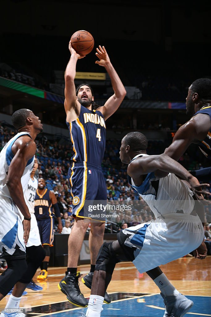 Luis Scola #4 of the Indiana Pacers shoots the ball against the Minnesota Timberwolves on October 21, 2014 at Target Center in Minneapolis, Minnesota.