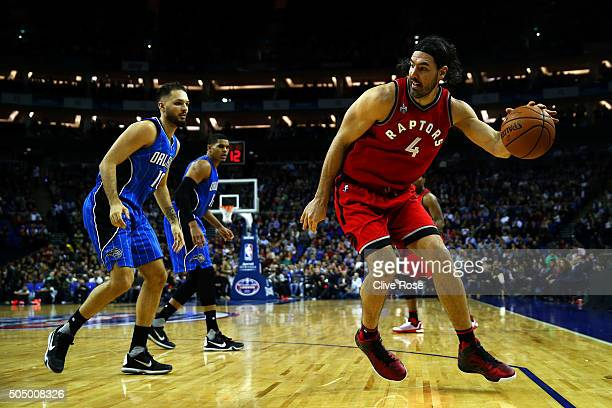Luis Scola of the Toronto Raptors in action during the 2016 NBA Global Games London match between Toronto Raptors and Orlando Magic at The O2 Arena...