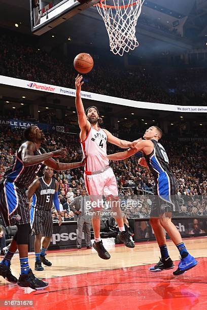 Luis Scola of the Toronto Raptors shoots the ball against the Orlando Magic on March 20 2016 at the Air Canada Centre in Toronto Ontario Canada NOTE...