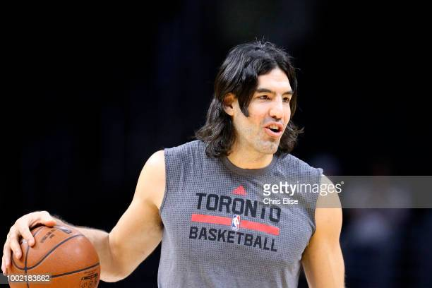 Luis Scola of the Toronto Raptors warms up before the game against the LA Clippers on November 22 2015 at the STAPLES Center in Los Angeles...