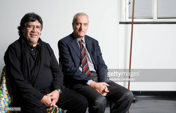Luis Sepulveda Chilean writer with the editor of Guanda Luigi Brioschi portrait Venice Italy 12th November 2008