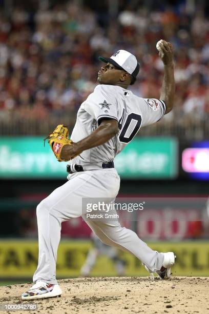 Luis Severino of the New York Yankees and the American League pitches in the second inning against the National League during the 89th MLB AllStar...