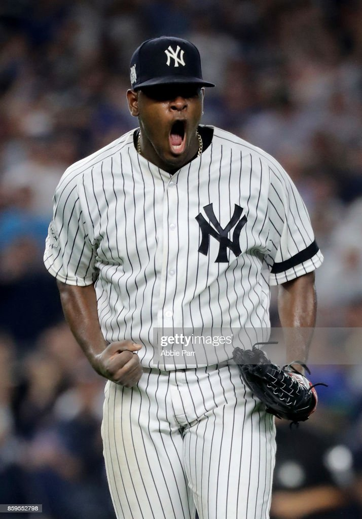 Luis Severino #40 of the New York Yankees celebrates after closing out the top of the seventh inning against the Cleveland Indians in Game Four of the American League Divisional Series at Yankee Stadium on October 9, 2017 in the Bronx borough of New York City.