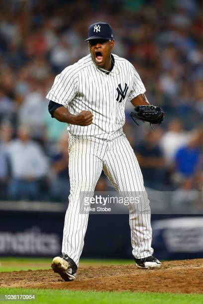 Luis Severino of the New York Yankees celebrates after striking out Mookie Betts of the Boston Red Sox to end the top of the seventh inning at Yankee...