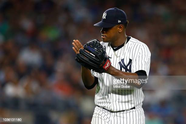Luis Severino of the New York Yankees celebrates after the final out of the top of the fourth inning against the Boston Red Sox at Yankee Stadium on...