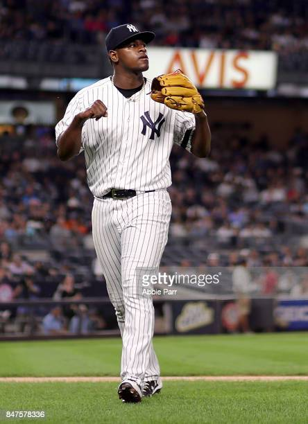 Luis Severino of the New York Yankees celebrates after the first inning against the Baltimore Orioles on September 15 2017 at Yankee Stadium in the...