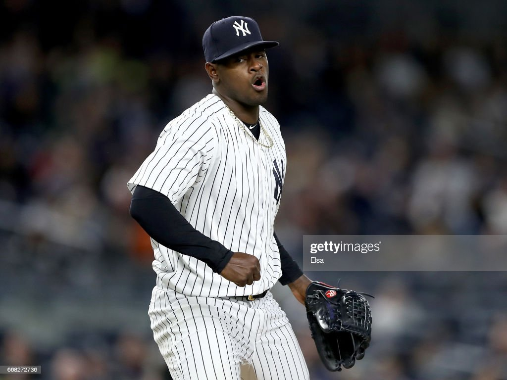 Luis Severino #40 of the New York Yankees celebrates after the last out in the sixth inning against the Tampa Bay Rays on April 13, 2017 at Yankee Stadium in the Bronx borough of New York City.