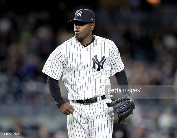 Luis Severino of the New York Yankees celebrates after the last out in the sixth inning against the Tampa Bay Rays on April 13 2017 at Yankee Stadium...
