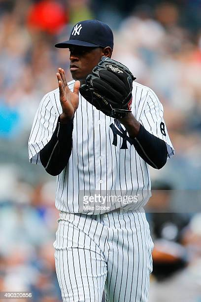 Luis Severino of the New York Yankees claps after the third out in the fourth inning against the Chicago White Sox at Yankee Stadium on September 27...