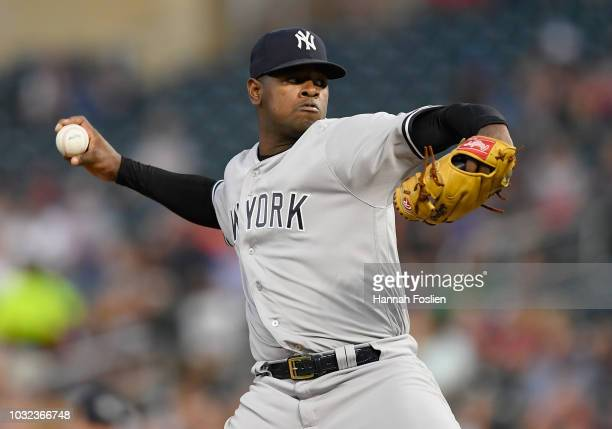 Luis Severino of the New York Yankees delivers a pitch against the Minnesota Twins during the first inning of the game on September 12 2018 at Target...