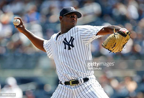 Luis Severino of the New York Yankees delivers a pitch against the Tampa Bay Rays during the first inning of a game at Yankee Stadium on August 14 in...