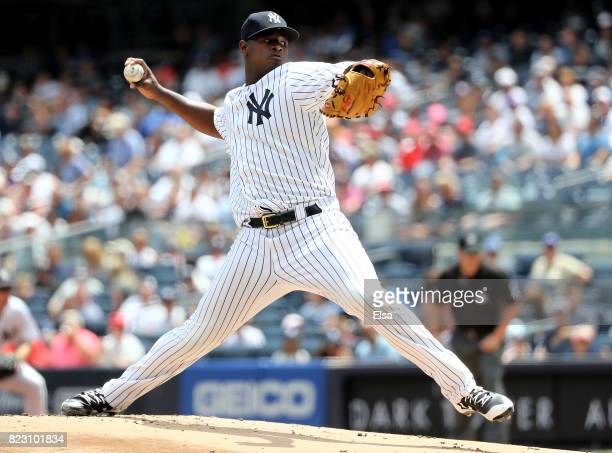 Luis Severino of the New York Yankees delivers a pitch in the first inning against the Cincinnati Reds on July 26 2017 at Yankee Stadium in the Bronx...