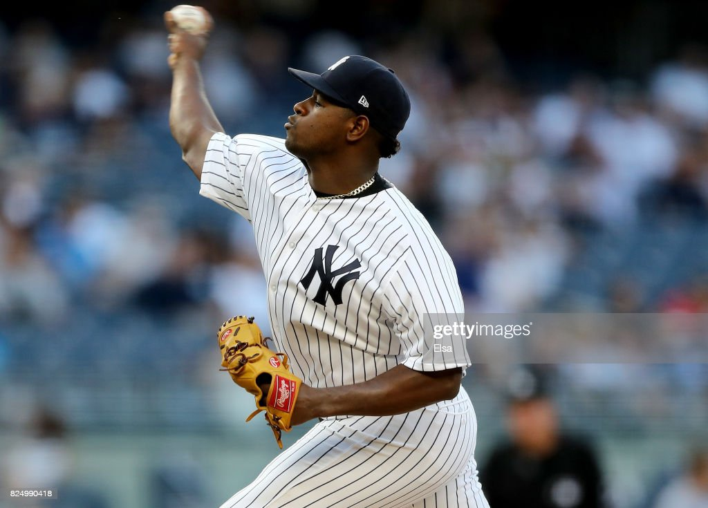 Luis Severino #40 of the New York Yankees delivers a pitch in the first inning against the Detroit Tigers on July 31, 2017 at Yankee Stadium in the Bronx borough of New York City.