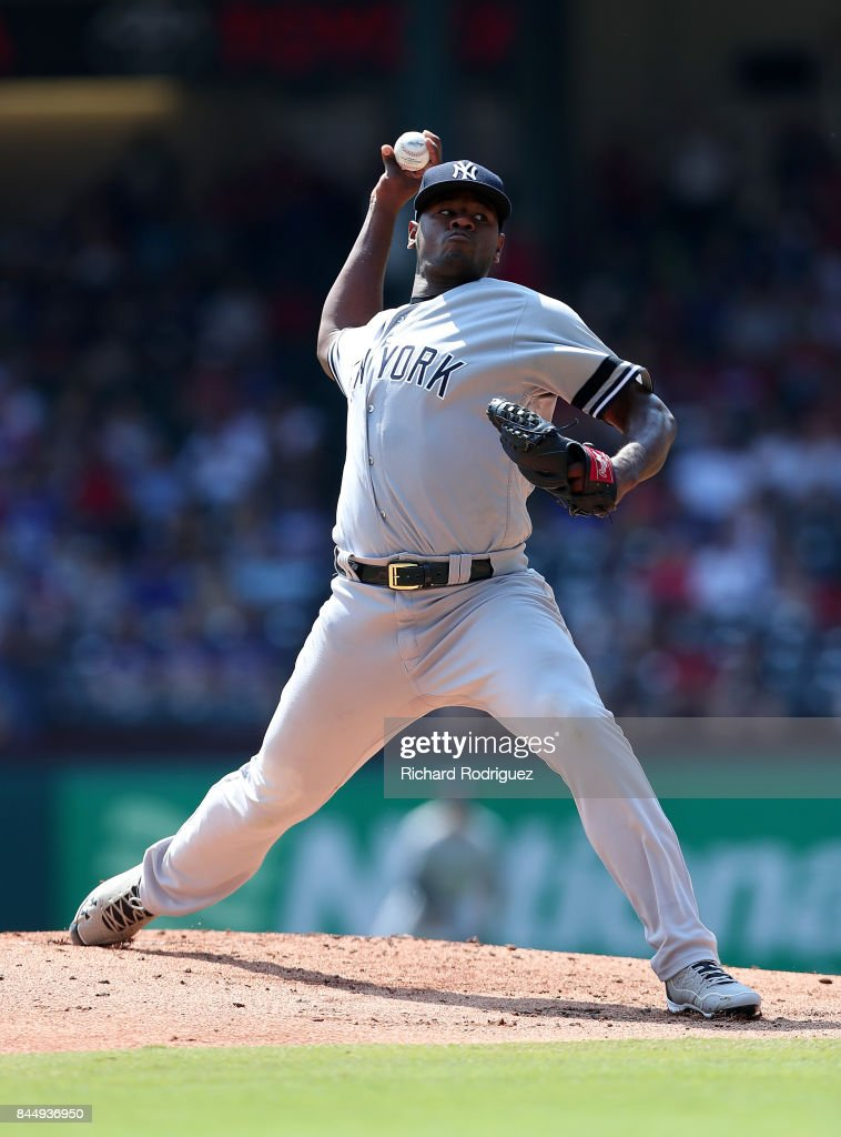 Luis Severino #40 of the New York Yankees delivers a pitch in the first inning of a game against the Texas Rangers at Globe Life Park in Arlington on September 9, 2017 in Arlington, Texas.