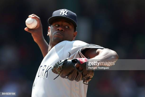Luis Severino of the New York Yankees delivers a pitch in the first inning of a game against the Texas Rangers at Globe Life Park in Arlington on...